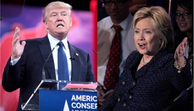 Galvenie sāncenši 2016. gada ASV prezidenta vēlēšanās - Republikāņu partijas kandidāts multimiljonārs Donalds Tramps un Demokrātu partijas kandidāte bijusī Valsts sekretāre uz Pirmā Lēdija Hilarija Klintone.